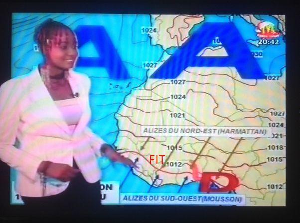 Capture d'écran de la météo avec le FIT le long de l'Afrique de l'ouest