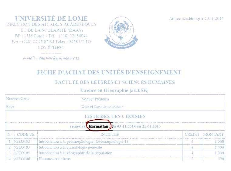 Semestre Harmattan (novembre à février), Université de Lomé